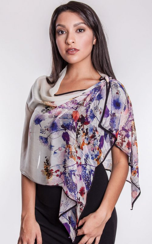 Bemberg Cotton Digital Print Floral Scarf from India