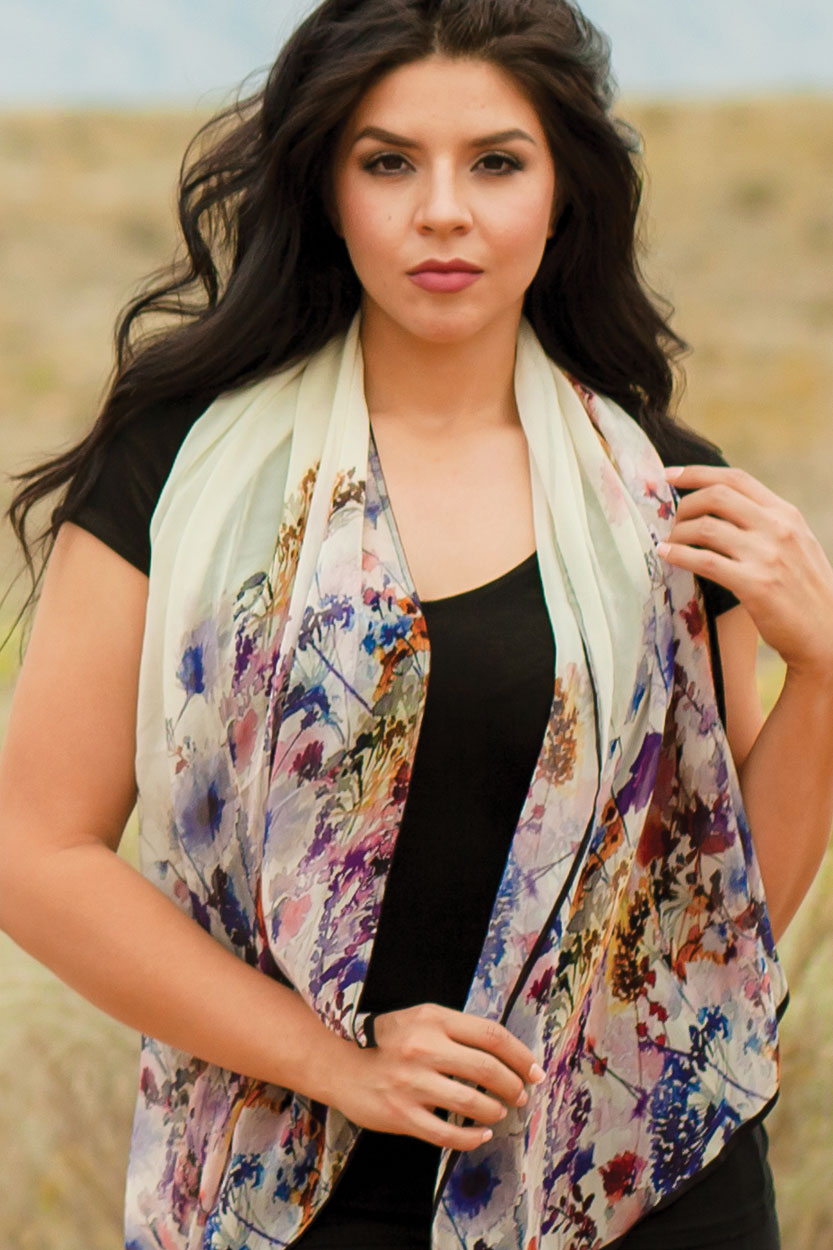 Fair Trade Digital Print Floral Scarf from India