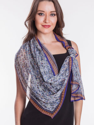 Denim Blue Digital Printed Bemberg Scarf from India