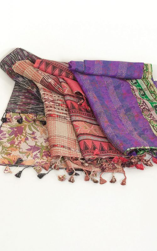 Handmade Recycled Sari Scarf in Silk from India