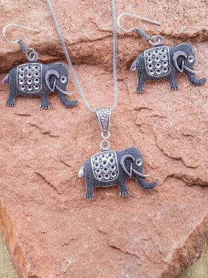 Fair Trade Silver Elephant Necklace Set from India