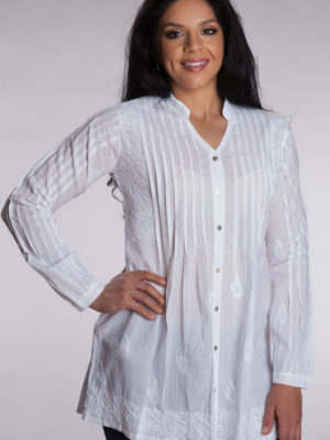 Fair Trade Cotton White Tunic with Pockets