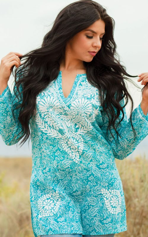 Fair Trade Turquoise Tunic Top with Embroidery