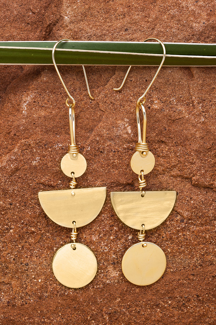 Fair Trade Brass Moon Earrings from India