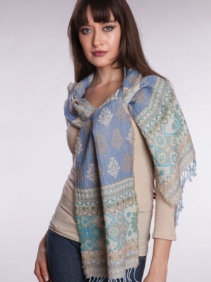 Fair Trade Light Blue Wool Scarf from India