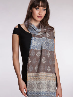 Fair Trade Soft Blue and Brown Wool Scarf from India