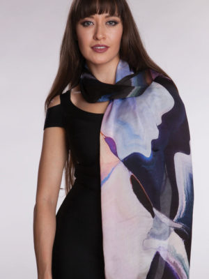 Fair Trade Purple Digital Print Scarf from India