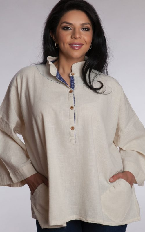 Hand Embroidered Ivory Cotton Shirt