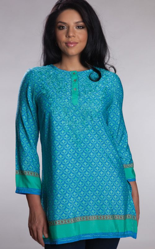 Fair Trade Turquoise Silk Embroidered Tunic from India