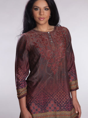 Burgundy Printed Silk Tunic from India