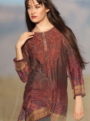 Fair Trade Burgundy Printed Silk Tunic