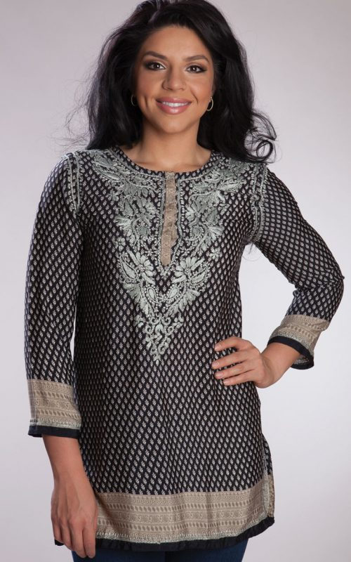 Black Embroidered Printed Silk Tunic Top