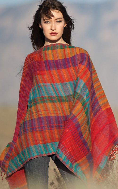 Fair Trade Plaid Red Wool Shawl from India