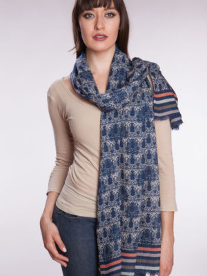 Fair Trade Block Print Indigo Wool Shawl from India