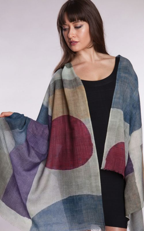 Fair Trade Soft Wool Shawl with Contemporary Print