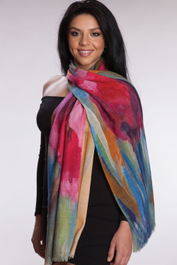 Fair Trade Vibrant Floral Wool Shawl from India