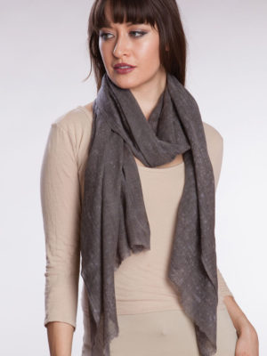 Fair Trade Tie Dye Wool Shawl in Charcoal Color