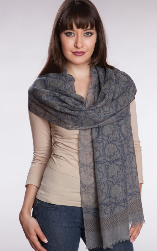 Fair Trade Block Print Wool Shawl in Grey and Indigo