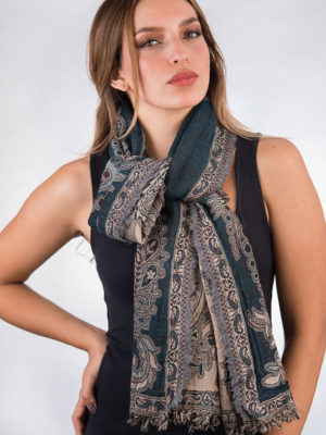Jamevar Teal Wool Scarf SC-223.5