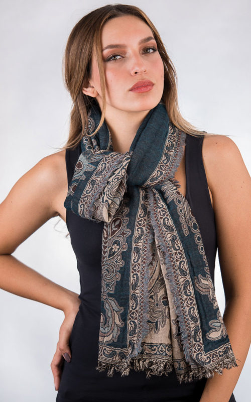 Soft Jamevar Teal Wool Scarf from India