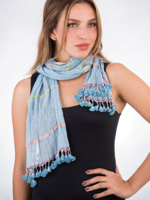 Fair Trade Blue Tassel Scarf from India