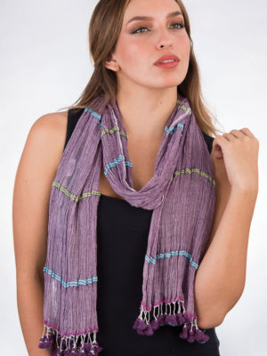 Fair Trade Purple Tassel Scarf from India