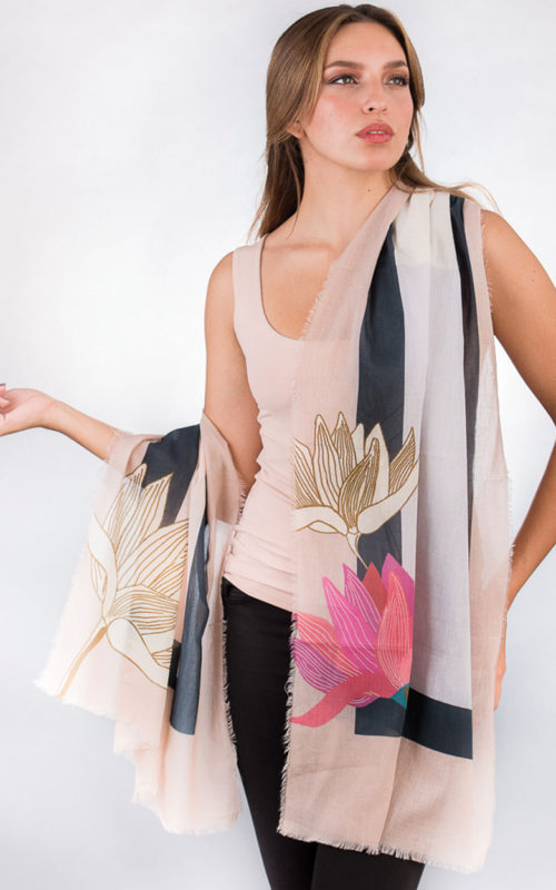 Fair Trade Cotton Lotus Scarf from India