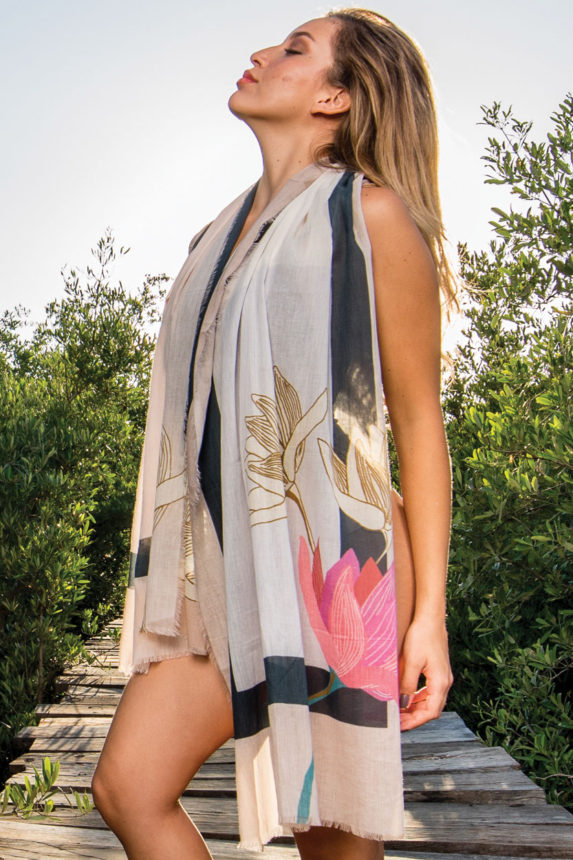 Soft Cotton Lotus Scarf from India