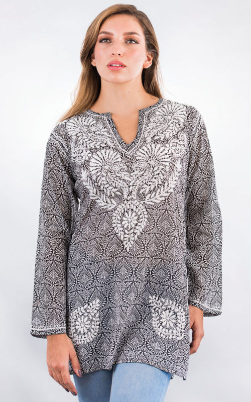 Fair Trade Black Printed Tunic from India