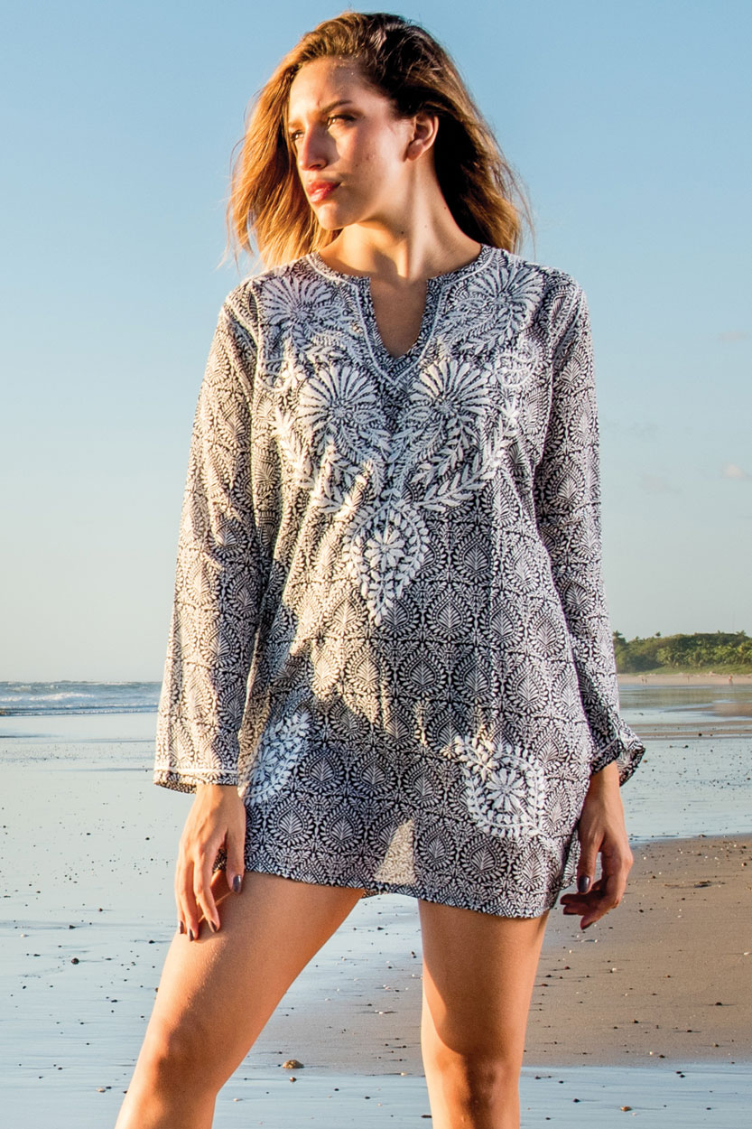 Embroidered Black Printed Tunic