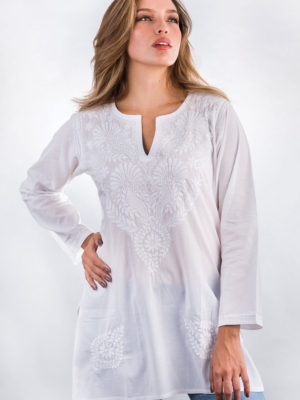 Fair Trade Hand Embroidered White Tunic Top from India