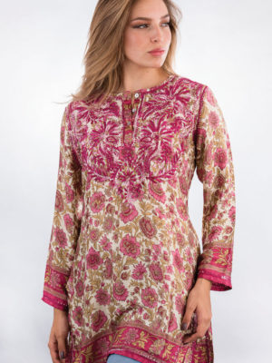 Fair Trade Printed Silk Tunic Top from India