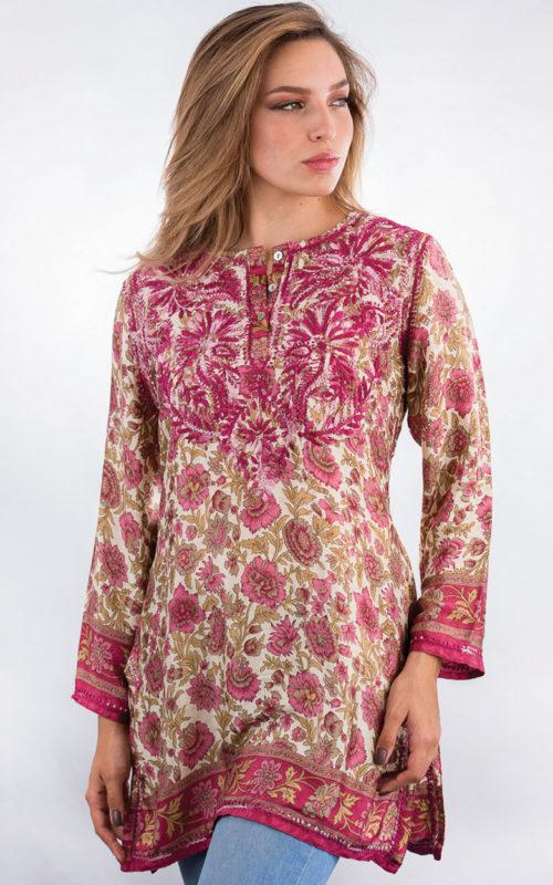 Fair Trade Printed Silk Tunic Top from India