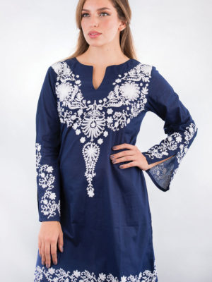 Fair Trade Embroidered Navy Tunic Top from India
