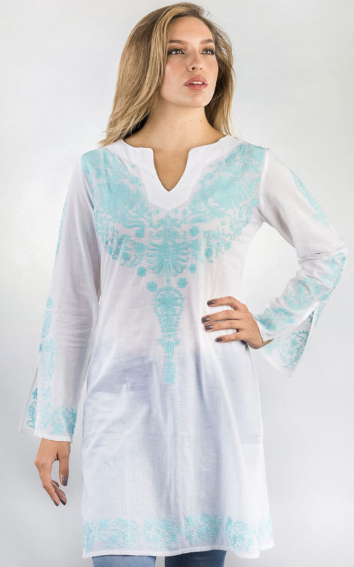 Fair Trade Embroidered Turquoise Tunic from India
