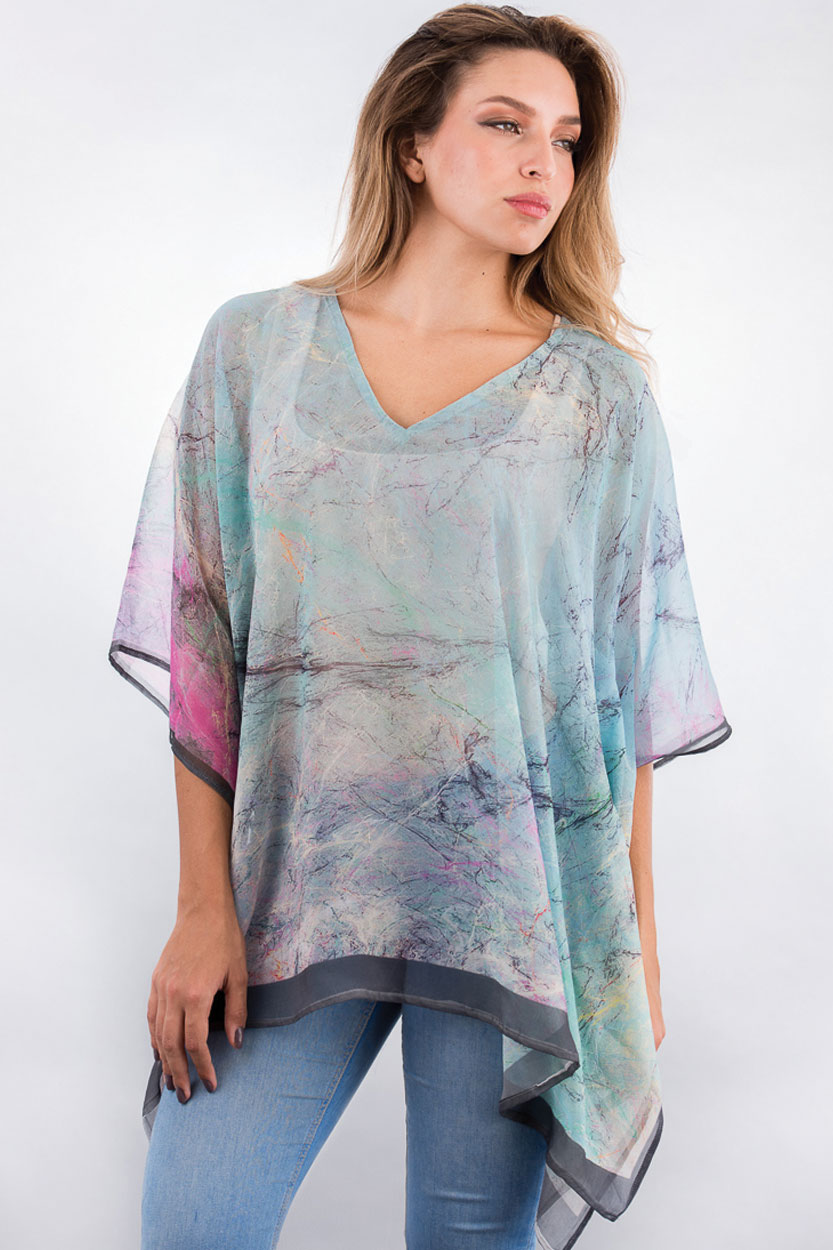 Lightweight Fair Trade Poncho in Turquoise