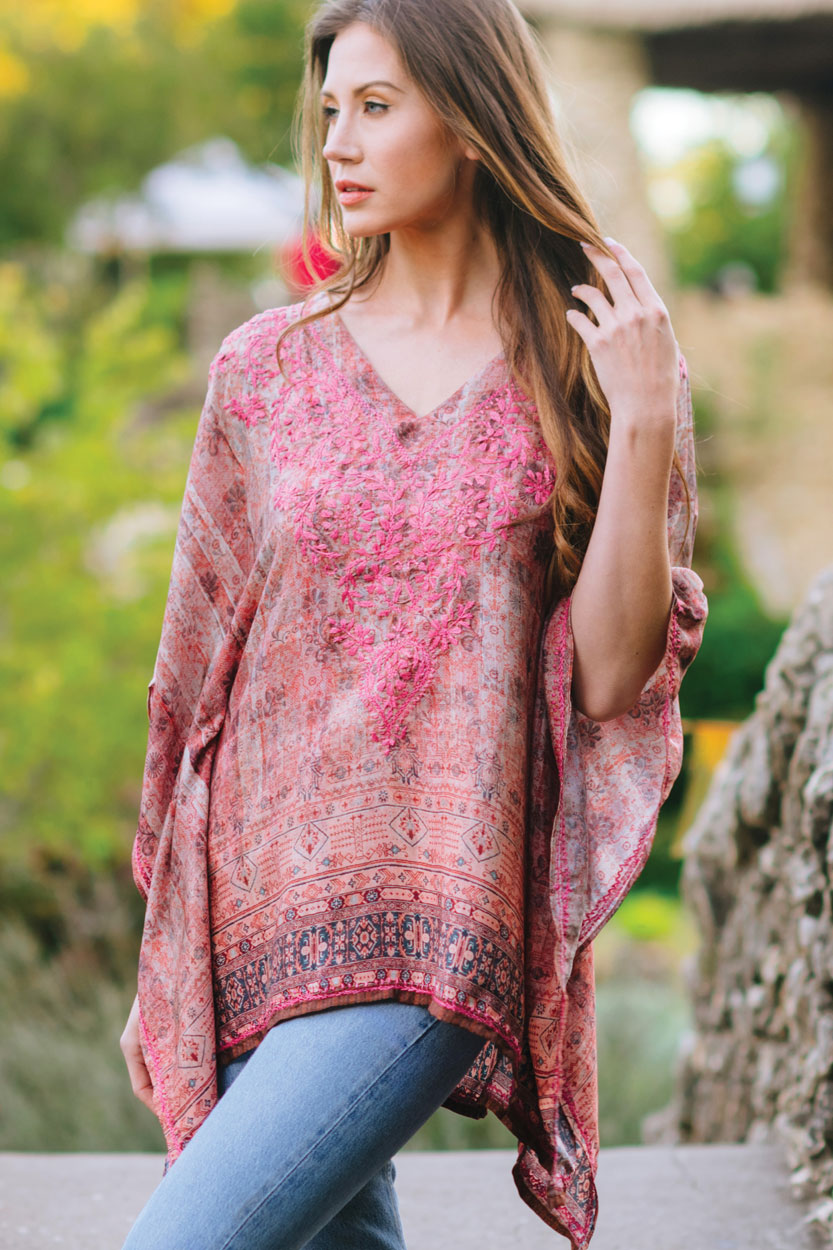 962fc2734061cf Hand Embroidered Top in Soft Colors and Free Size