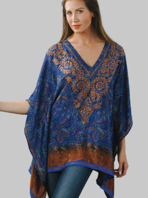Fair Trade Hand Embroidered Blue Top in Free Size