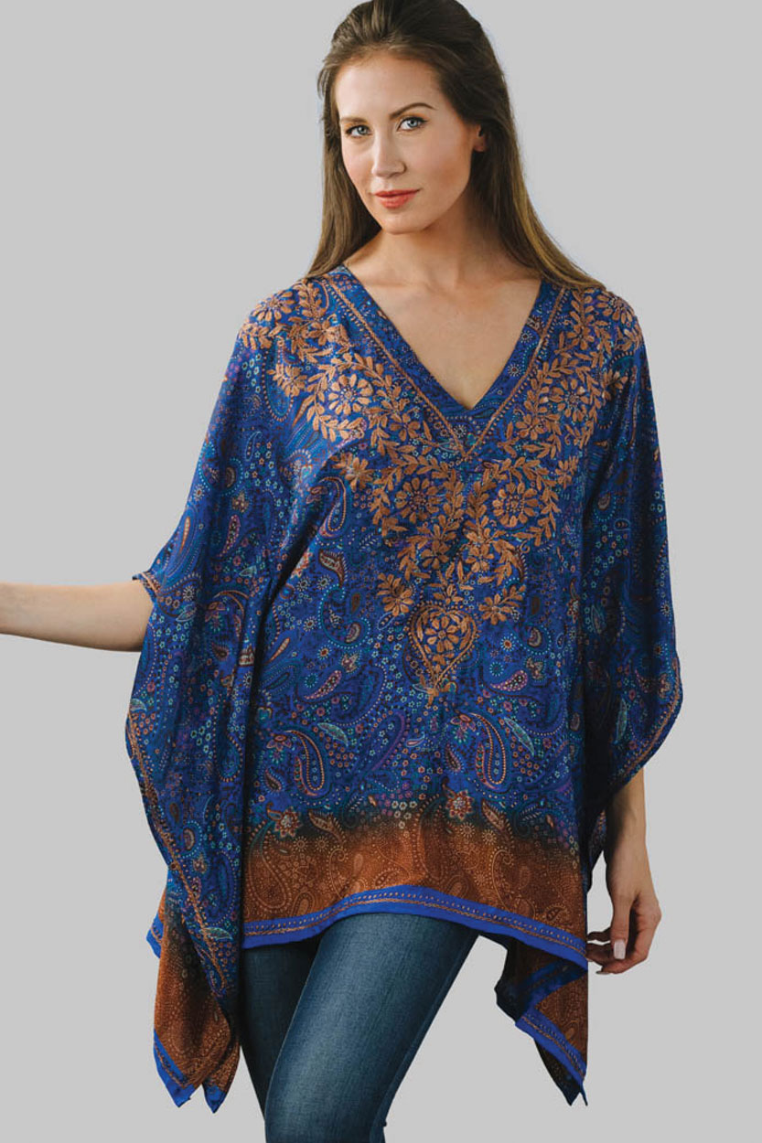 146ac775c6e7f2 Hand Embroidered Blue Top with Digital Print in Free Size