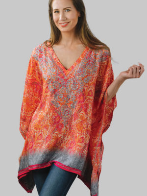 Printed Orange Embroidered Top in Free Size