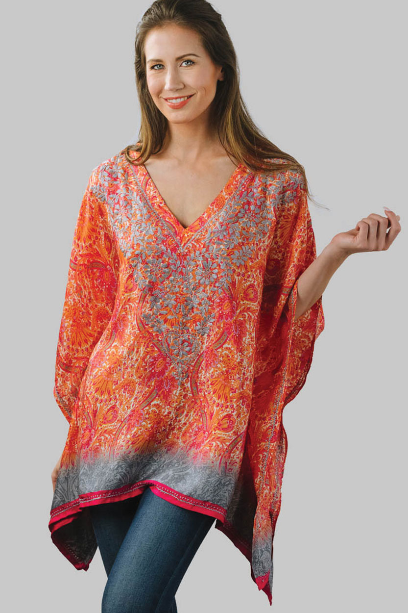 483886afa8fba1 Printed Orange Embroidered Top in Free Size