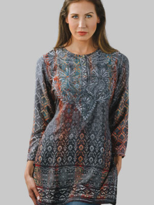 Fair Trade Hand Embroidered Blue Tunic with Digital Print