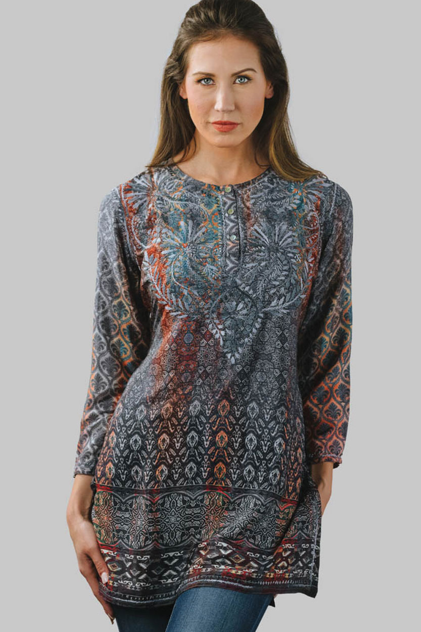 57f9857a76d Fair Trade Hand Embroidered Blue Tunic with Digital Print