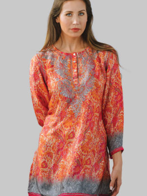 Fair Trade Hand Embroidered Orange Printed Tunic