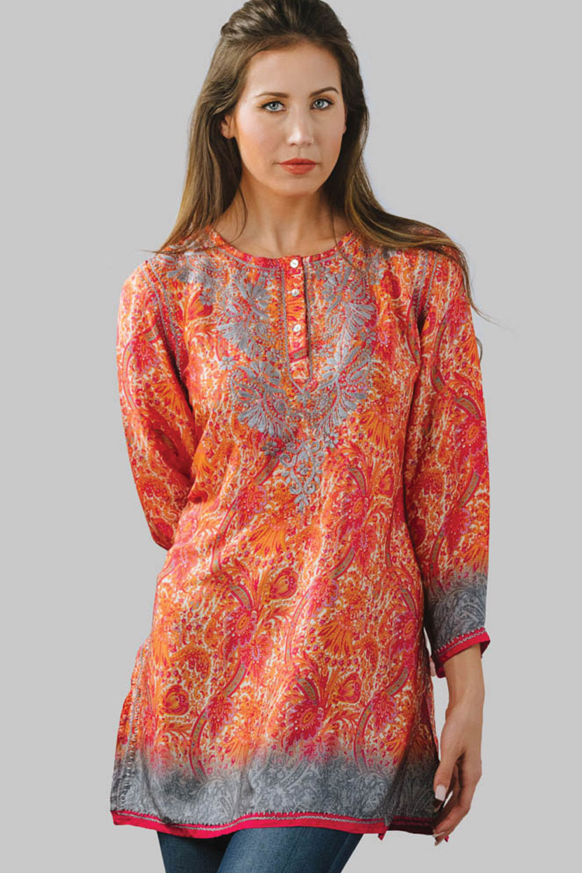 b4f5343791d Printed Silk Tunic Top with Hand Embroidery from India