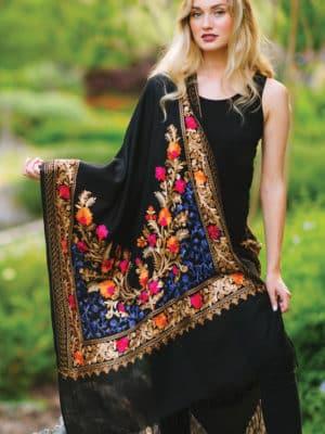 Karuna Embroidered Wool Shawl ST-104.1